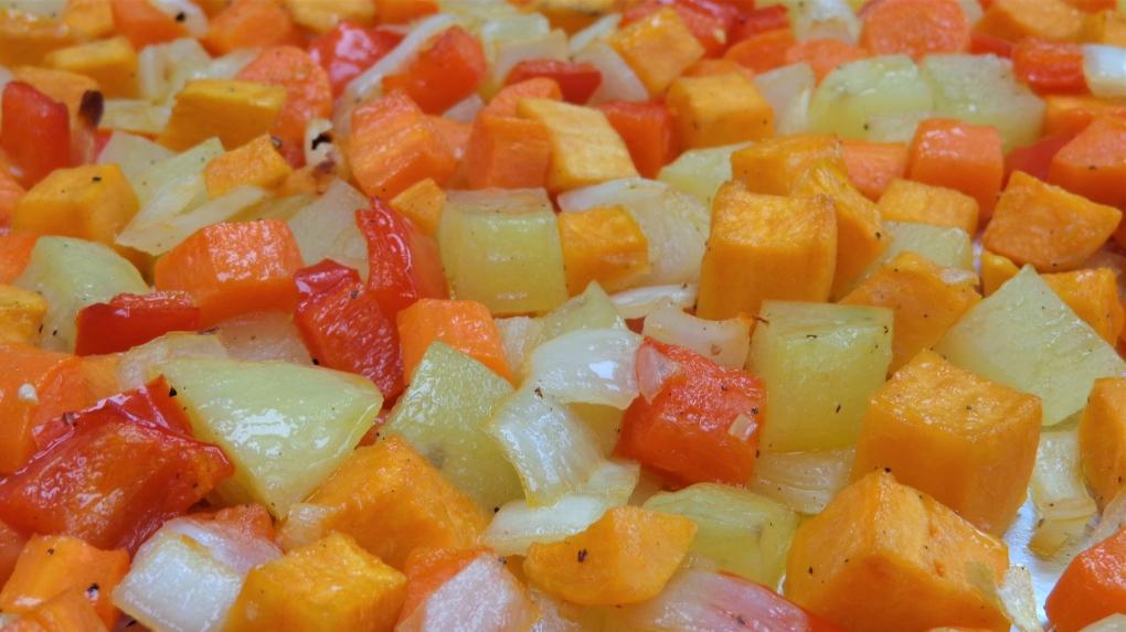 Sweet Potato Hash cooked on tray